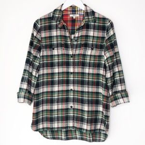MADEWELL Green & Red Long Sleeve Button Up Flannel